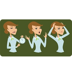 Business lady cartoon character negative emotions vector image
