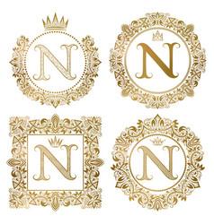golden letter n vintage monograms set heraldic vector image vector image