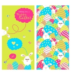 Greeting card with bunnies and easter eggs vector image
