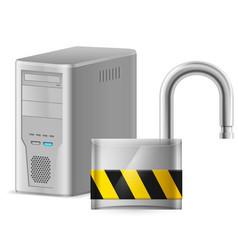 open padlock - computer security concept of vector image
