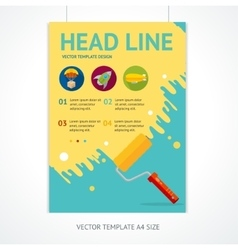 Placard Poster Template with Rollerbrush vector image vector image