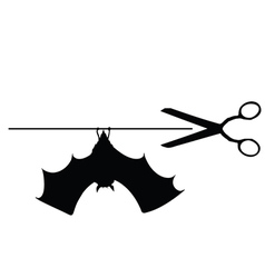 Scissors with bat vector