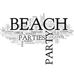 beach parties text word cloud concept vector image