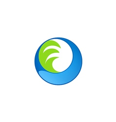 circle water wave technology logo vector image