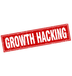 Growth hacking square stamp vector