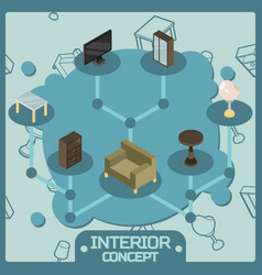 interior color isometric concept icons vector image vector image