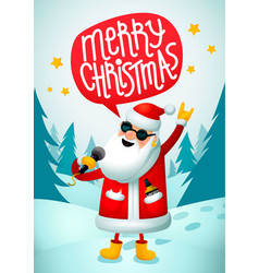 rock-n-roll santa singing santa claus - rock star vector image