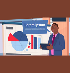 african american businessman holding presentation vector image
