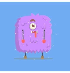 Giant Violet Furry Square Monster In Winter vector image vector image