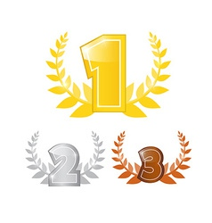 Gold Silver Bronze - First Second and Third Place vector image vector image