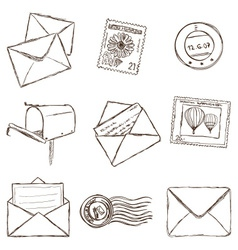 mailing icons - sketch style vector image