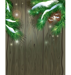 Old Wooden background with Christmas fir tree bran vector image vector image