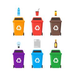 recycle bins set vector image