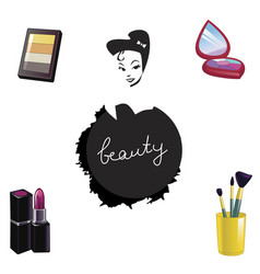 Set of decorative cosmetics isolated on white vector