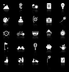 Slow life activity icons with reflect on black vector