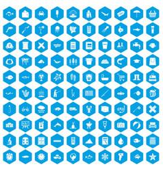 100 fish icons set blue vector