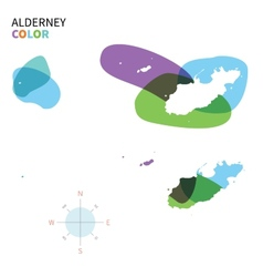 Abstract colored map of alderney vector