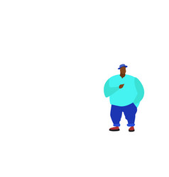 african american big fat man standing pose full vector image