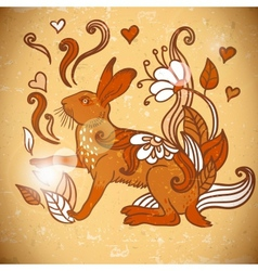 Animal Background pattern with rabbit vector