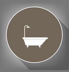 bathtub sign white icon on brown circle vector image