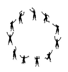 black and white silhouettes of jumping happy vector image
