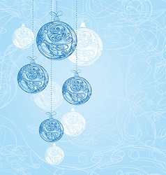 Blue decorative christmas decorations vector image