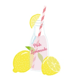 Bottle of Pink Lemonade with Lemons vector