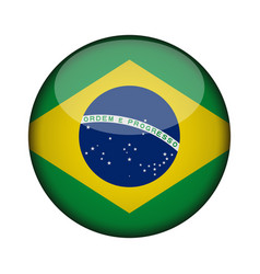 brazil flag in glossy round button of icon brazil vector image