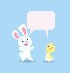 bunny and chick smiling vector image