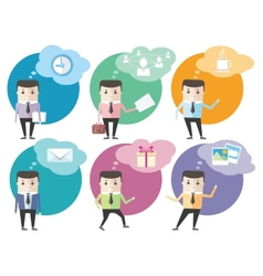 Business man icons with dialog bubbles vector image