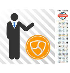 Businessman show nem coin flat icon with bonus vector