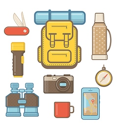 Camping and hiking equipment elements vector