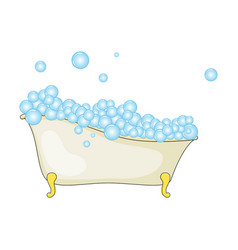 cartoon bathtub with foam and bubble isolated on vector image