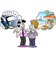 cartoon of a family man there think what to vector image