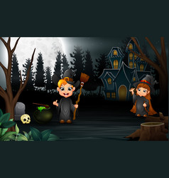cartoon witch celebration of halloween in the nigh vector image