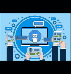 chat bot concept hand holding laptop tablet and vector image