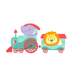 Cheerful red cheeked hippo and lion driving toy vector
