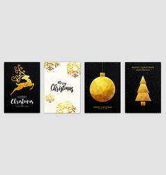 christmas party flyer design- golden ornaments vector image