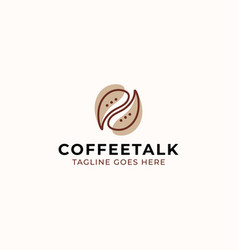 Coffee bean with bubble chat concept logo vector
