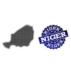 Collage of halftone dotted map of niger and grunge vector