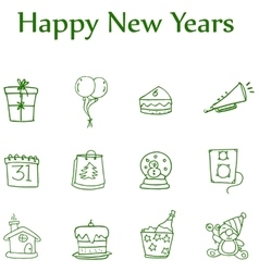 Colletion style icon of new year element vector