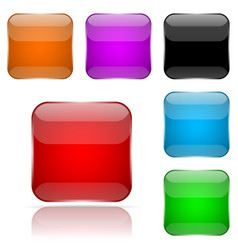 colored 3d glass buttons square icons vector image
