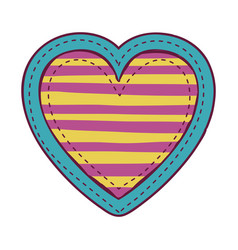 colorful heart shape with lines pattern vector image