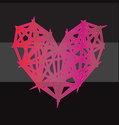 colorful polygon heart icon on black background vector image