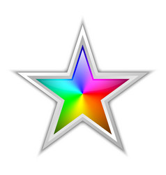 colorful radial gradient in star shaped badge vector image