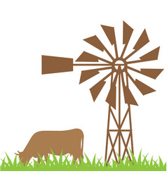 cow on field vector image