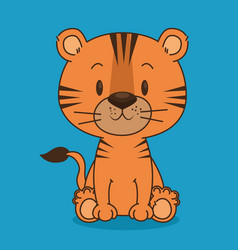 cute and little tiger character vector image