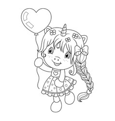 cute baunicorn playing with heart shape ballon vector image