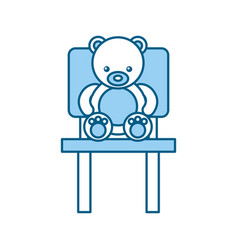 Cute bear teddy sitting on chair vector