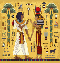 Egyptian mythologyancient culture sing and symbol vector